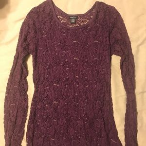 Long sleeve lace purple shirt